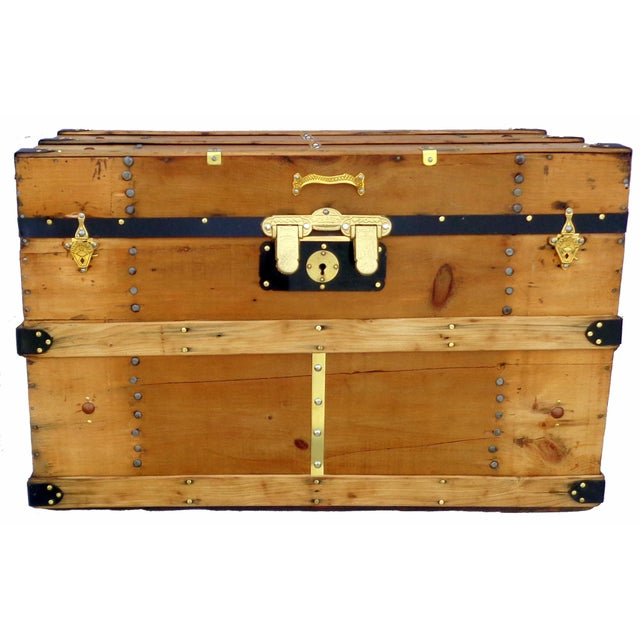 1880's Natural Finish Packing Trunk - Image 2 of 4