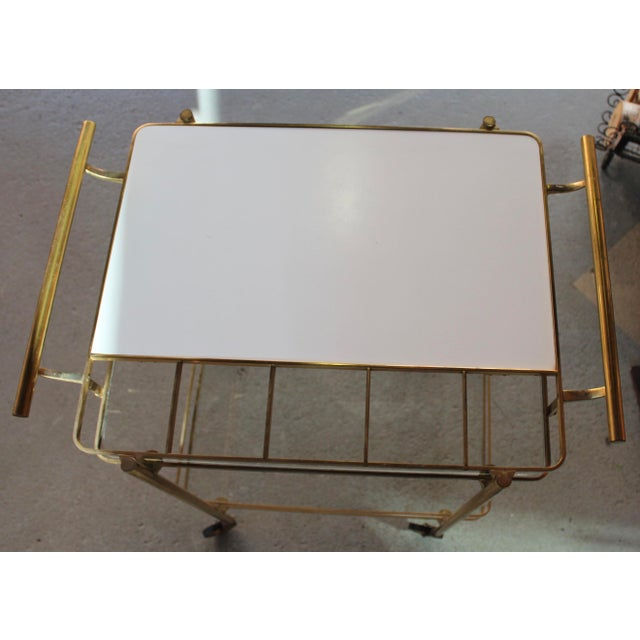 Vintage Mid-Century Brass and Glass Bar Cart - Image 9 of 9