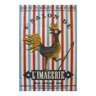 1945 Salon De l'Imagerie Exhibition Poster, French Rooster