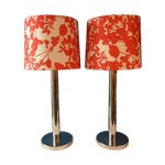 Image of Mid-Century Modern Chrome Table Lamps - A Pair