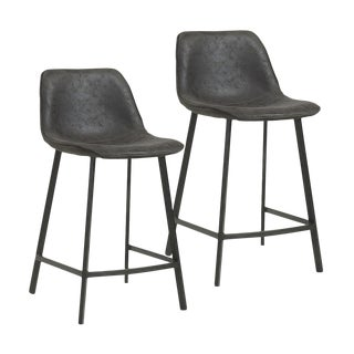 Faux Suede Counter Stool - A Pair