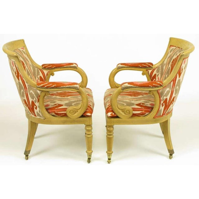 Pair Interior Crafts Regency Scrolled Arm Chairs In Ikat Fabric - Image 3 of 10