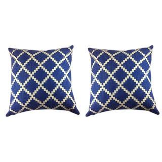 "LuLu Dk Designs by Duralee-""Gaston"" in Royal Pillows - a Pair"