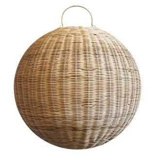 Raw Rattan Globe Lantern