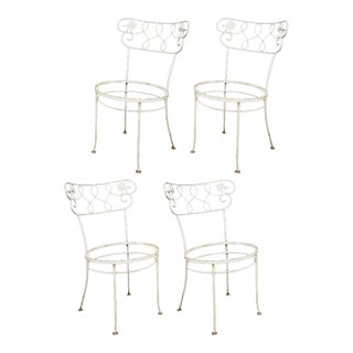 Vintage Woodard Chantilly Rose Wrought Iron Garden Patio Dining Chairs - Set of 4