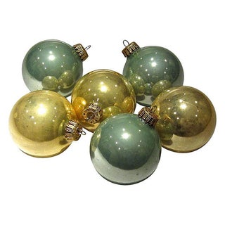 Mint Green, Champagne & Gold Ornaments - S/6