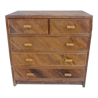 Vintage Pencil Reed & Rattan 5 Drawer Chest