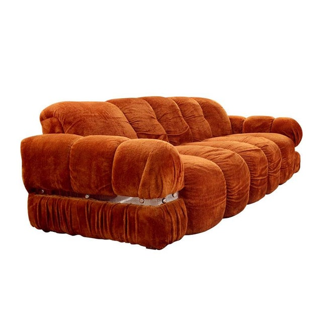 Image of Vintage 1970s Velvet & Chrome Sofa