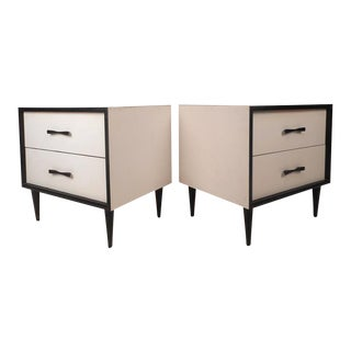 Mid-Century Modern White Laminate Nightstands - A Pair