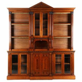 Strahan & Co. Irish Walnut Palladian Breakfront Bookcase