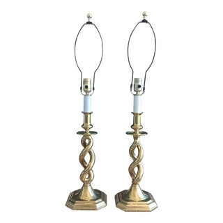 Antique 3-Way Brass Barley Twist Candlestick Open Spiral Helix Table Lamps - a Pair