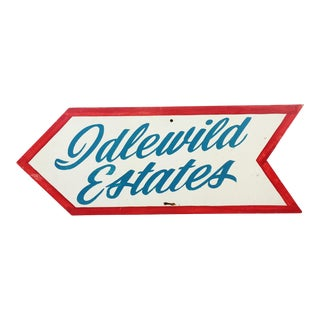 Vintage Painted Wood Arrow Sign for Idlewild Estates