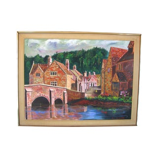 "Nilo Da Corta Oil Painting ""Village Street"""