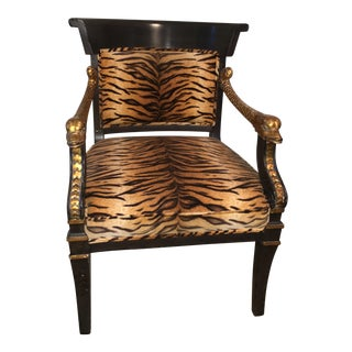 Vintage Armchair With Tiger Upholstery