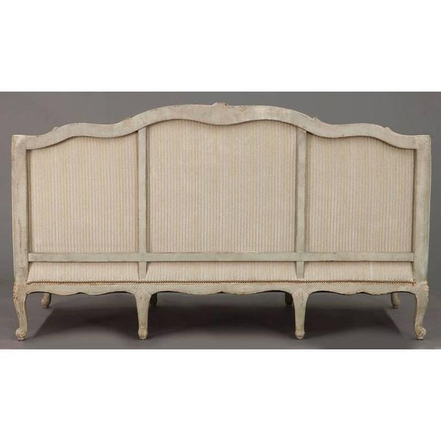 19th Century French Louis XV Carved Canape With Painted Finish and Beige Fabric - Image 9 of 9