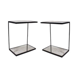 Metal Up & Over Mirror Tables - A Pair