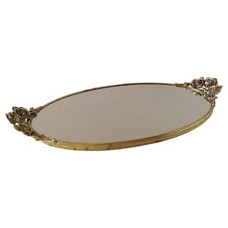 Large Brass Rose Petaled Handled Vanity Tray