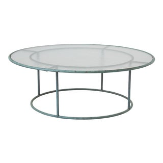 Walter Lamb Hammered Glass Top Round Coffee Table