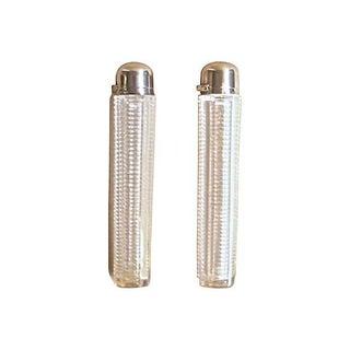 Vintage Art Deco Silver & Crystal Flacons - A Pair