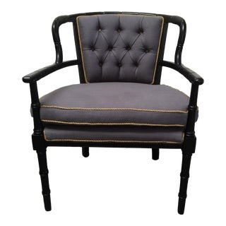 Faux Bamboo Tufted Armchair