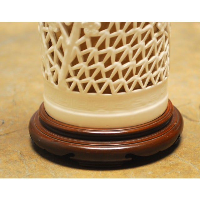 Blanc De Chine Reticulated Porcelain Table Lamp - Image 6 of 7