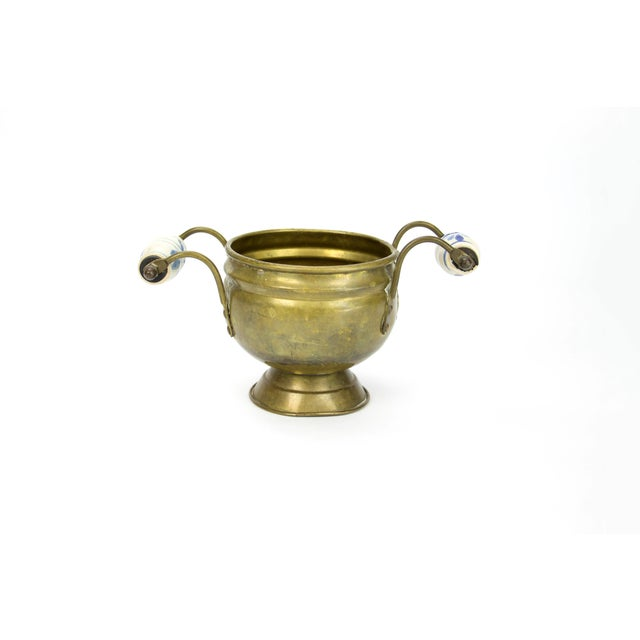 Image of Brass Cache Pot with Delft Ceramic Handles