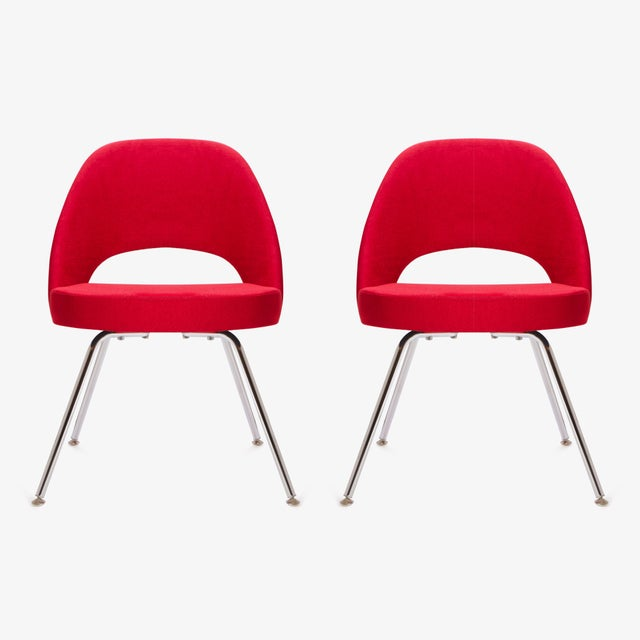 Saarinen for Knoll Executive Armless Chairs in Original Knoll Fire-Red, Pair - Image 3 of 9