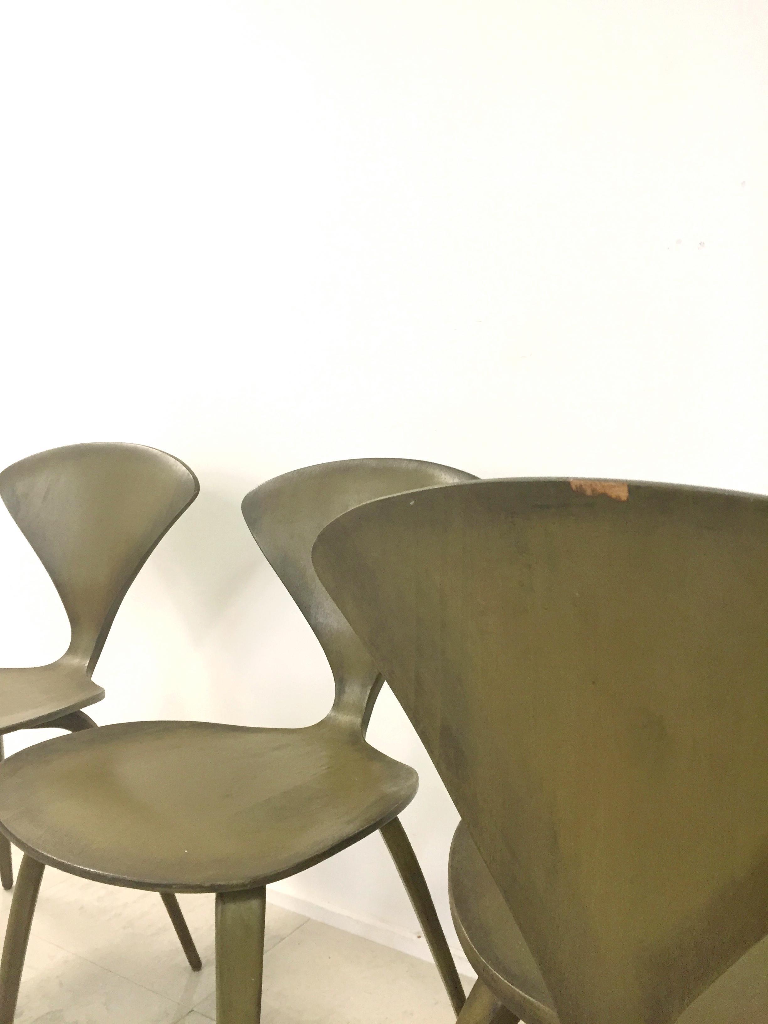 norman cherner for plycraft vintage chairs set 4 image 10 of 10