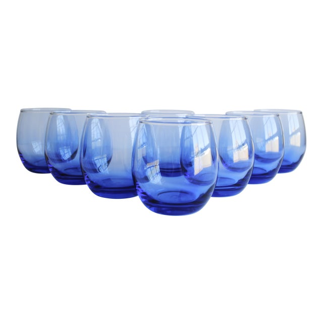Blue Roly Poly Glasses, Set of 8 - Image 1 of 5