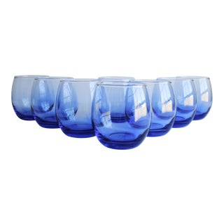 Blue Roly Poly Glasses, Set of 8