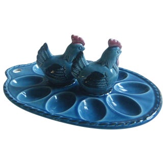 Blue Deviled Egg Plate & Rooster Shakers