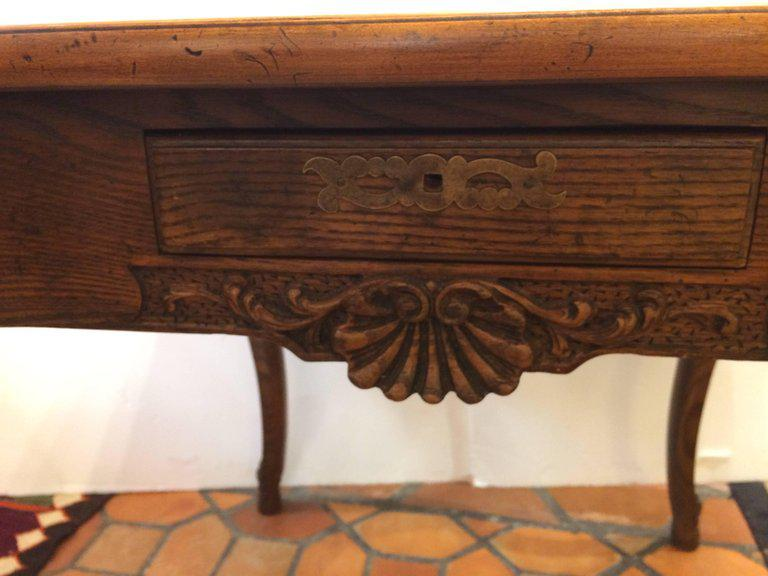 Rich Oak And Tooled Leather Game Table   Image 6 Of 11