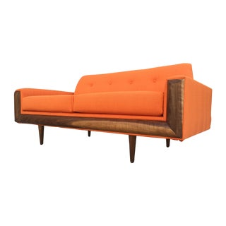 MCM Custom Walnut Loveseat Sofa