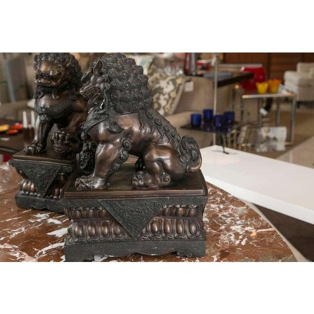 Fine Antique Bronze Foo Lion/ Dog Pair - Image 2 of 10