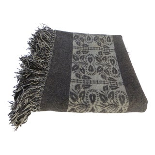 Vintage Gray Wool Carriage Blanket