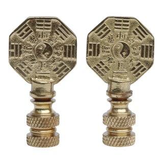 Yin & Yang Solid Brass Finials - A Pair