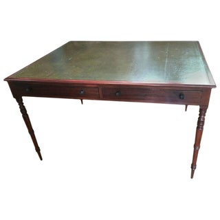Traditional Mahogany & Tooled Leather Partner's Desk