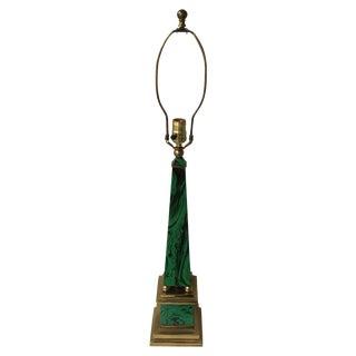 Faux Malachite Brass Lamp