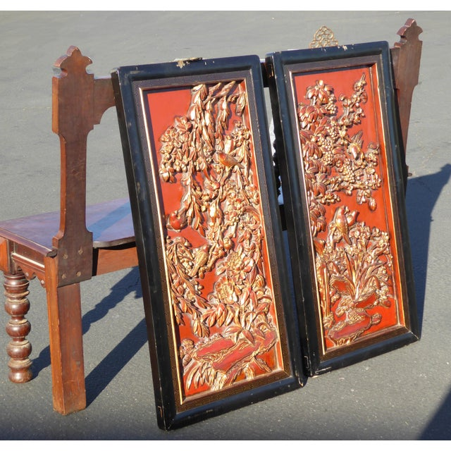 Vintage Asian Red & Gold Gilt Floral Carved Wall Panels- A Pair - Image 6 of 11