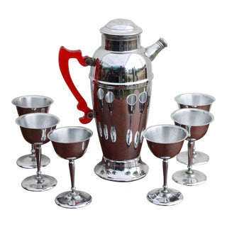 Chrome & Red Acrylic Cocktail Set