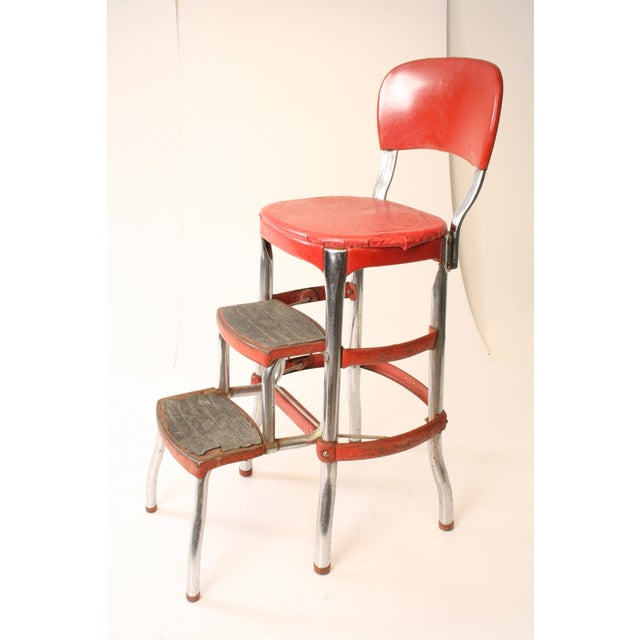 Cosco Mid Century Red Metal Step Stool Chairish