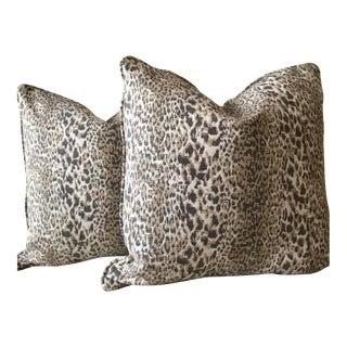 Grey & Taupe Animal Print Pillows - A Pair