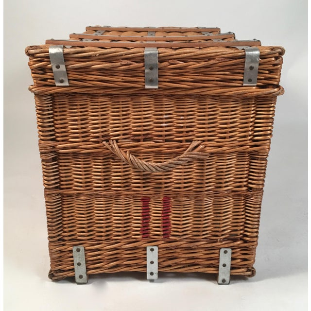 Superb French Lined Wicker Trunk Hamper Or Coffee Table Decaso