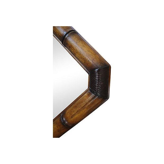 Image of McGuire Faux Bamboo Wood And Leather Mirror