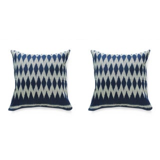 Indigo Ikat Geometric Pillows - Pair