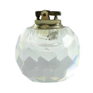 Antique Crystal Ball Table Lighter & Case