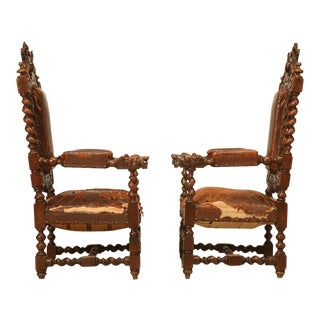 Pair of French Barley Twist Over the Top Throne Chairs