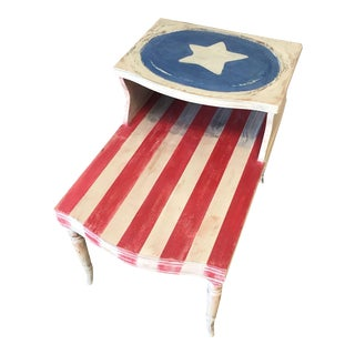 Hand Painted Americana Side Table