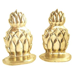 Solid Brass Pineapple Bookends - A Pair