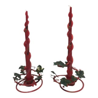 Vintage Christmas Tole Candle Holders - A Pair